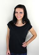 nézet - Csónaknyakú női póló fekete