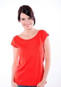 náhled - Csónaknyakú női póló piros