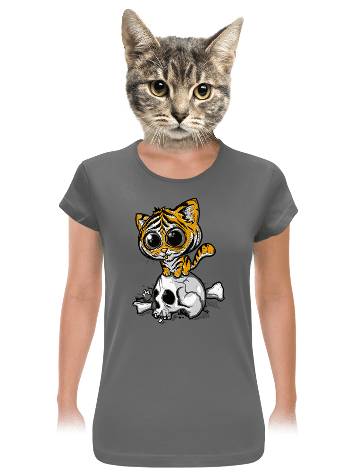 Tigriskölyök női póló szürke