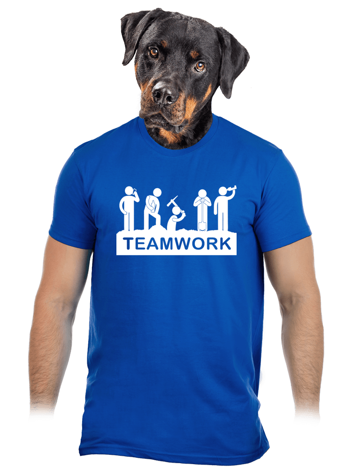 Csapatmunka férfi póló kék