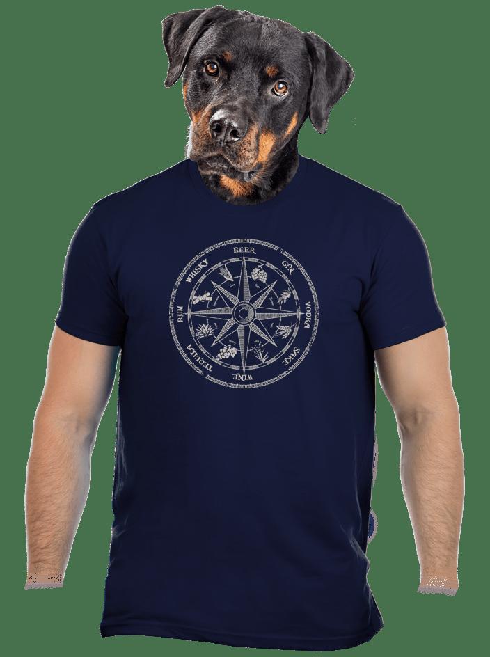 Alkoholos iránytű férfi póló kék