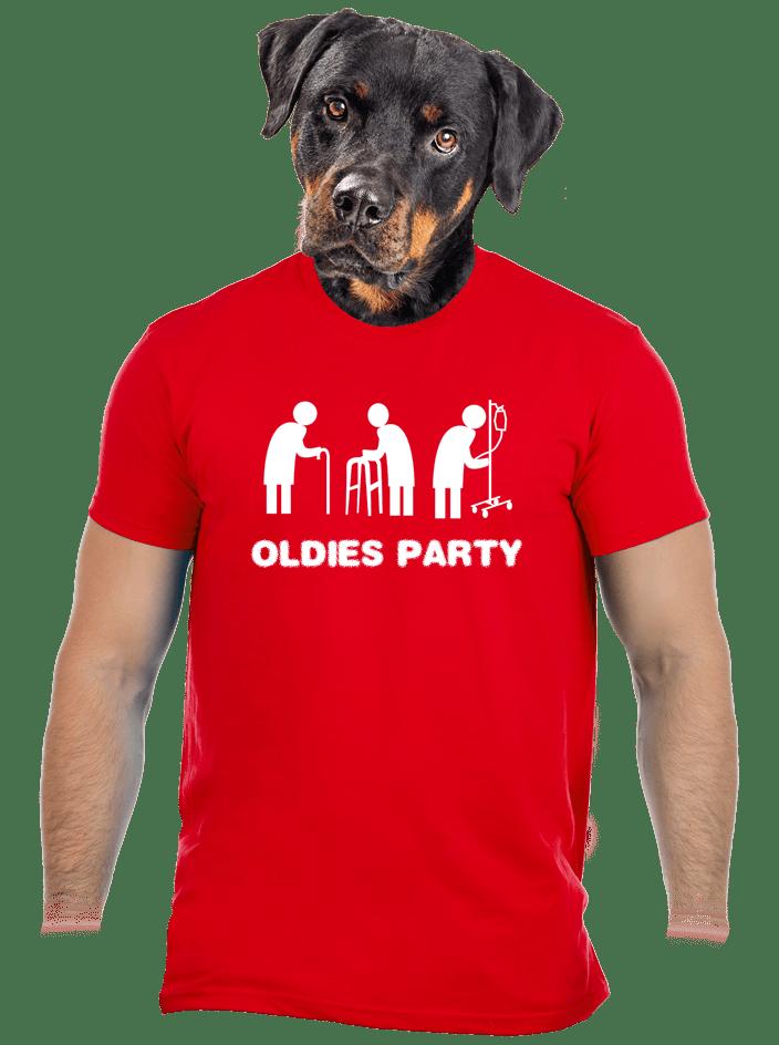 Oldies party férfi póló piros