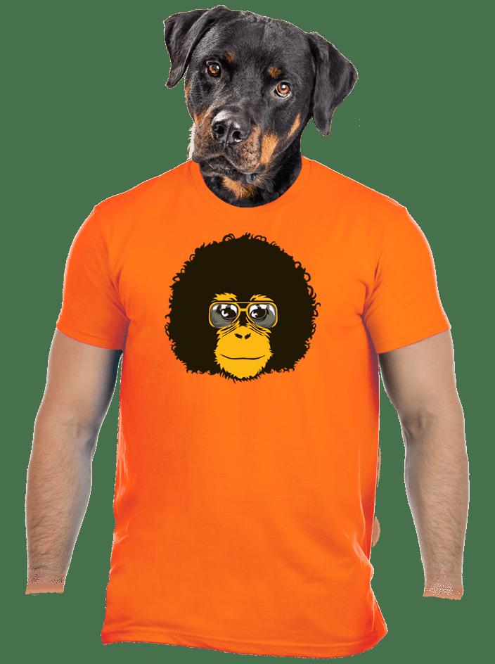Retró majom férfi póló narancs