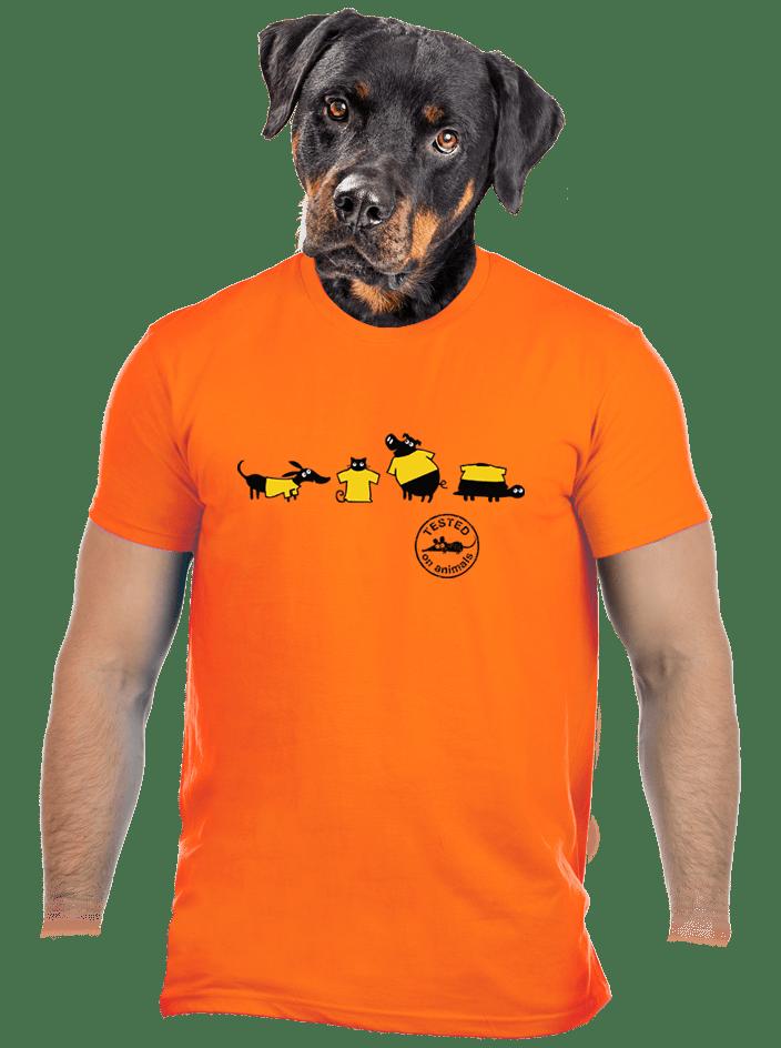Állatokon tesztelve férfi póló narancs