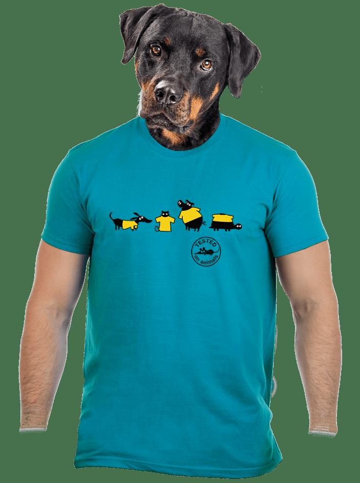 Állatokon tesztelve férfi póló kék