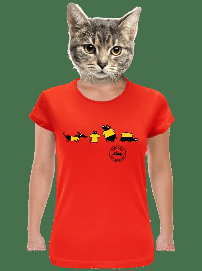 Állatokon tesztelve női póló piros