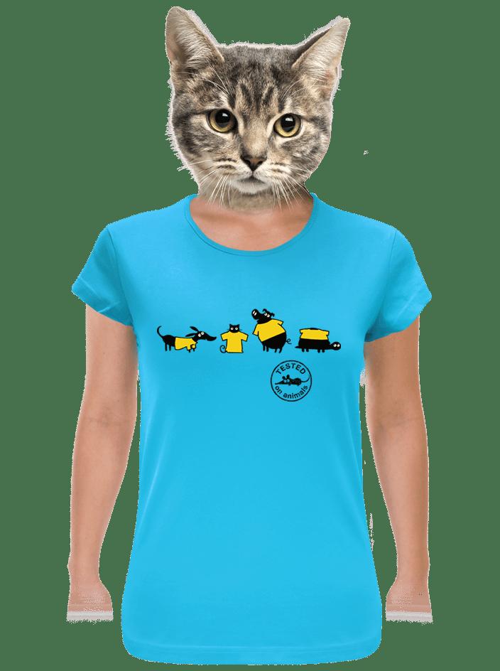 Állatokon tesztelve női póló kék